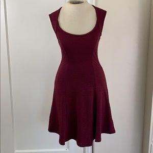 Silence + Noise textured burgundy skater dress